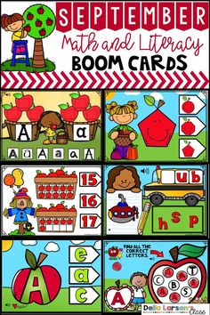 Digital Boom Cards September Math and Literacy BUNDLE Distance Learning Kindergarten Apples, Kindergarten Classroom, Kindergarten Activities, Classroom Activities, Apple Activities, Work Activities, Classroom Ideas, Preschool, Word Work Centers