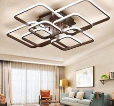 Square Circel Rings Ceiling-Lights For Living-Room-Bedroom-Home Modern-Led-Ceiling-Lamp Lounge Lighting, Luxury Lighting, Living Room Lighting, Home Lighting, Modern Lighting, Lighting Design, White Chandelier, Led Chandelier, Bedroom Lamps