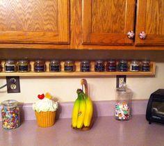 Under cabinet spice rack.#chalkboard label. So proud of my hubby!
