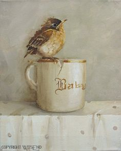 Robin Cup painting original baby bird and antique cup by 4WitsEnd, via Etsy  SOLD