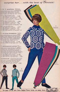 1966 Spiegel Christmas Catalog Page - up-down permanent press rayon and stretch nylon pants with Pellon bottoms and underfoot straps 60s Fashion Trends, Sixties Fashion, Mod Fashion, Vintage Fashion, Evolution Of Fashion, Fashion Marketing, Fashion Catalogue, Vintage Outfits, Vintage Clothing