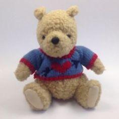 "Gund Classic Pooh Knit Heart Sweater Curley Plush 7"" | eBay"