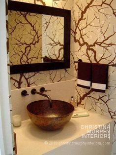 Drama in the #powder room by Christina Murphy Interiors