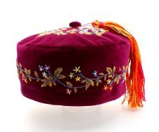 Green Velvet Victorian Style  Smoking Cap Hand Embroidered Handmade to Order
