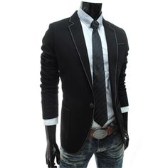 Slim Fit Single Breasted Notched Lapel 1 Button Blazer