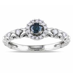 Round-cut blue and white diamond ringSterling silver jewelryClick here for ring sizing guide