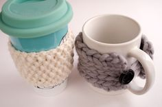What to do with your leftover yarn- make cup warmers!