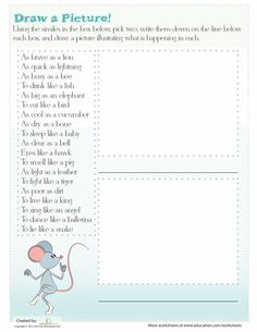 Worksheets: Examples of Similes