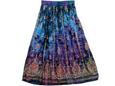 Hippie Boho Purple Blue Lehenga Print Sequin Skirts Bellydance Womens Long Skirt