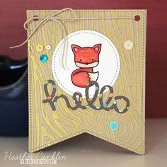 card with scripty words & letters, scripty hello #fox - big banner - Lawnscaping Challenge: Spotted and Hearted - September