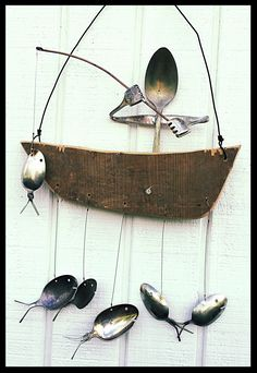 Antique silver spoon & fork fishing barn board boat wind chime- made for Julie's Junquetique (Etsy.com) at Candle Shed Effect