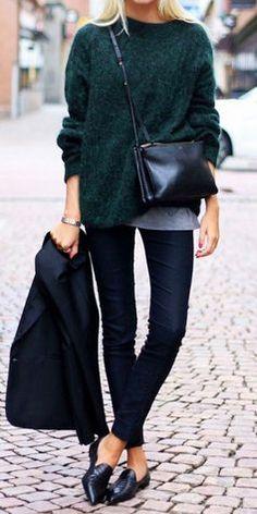 #fall #fashion / green knit
