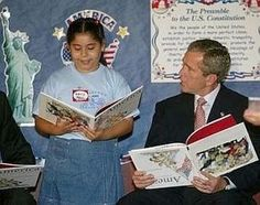 ❥ Bush reading with children in the classroom on 9/11/01... notice the book is UPSIDE DOWN