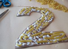 crafts with pasta with numbers - Could have kids fill in their age???