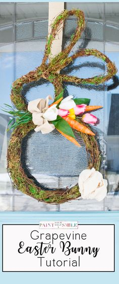 LOVE!!! Super Cute DIY Easter Bunny shaped grapevine door wreath with awesome step by step how to instructions.