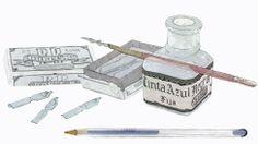 Tinter, bolígraf, plomes / Tintero, bolígrafo, plumas