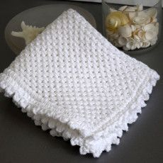 Hand Knit White Washcloth at www.NourishandNestle.com