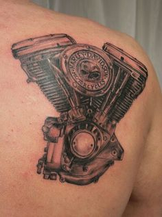 Awesome Harley engine tat! | #ChopperExchange #bikertattoo #harley #tattoo