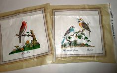 Vintage Bird Fabric Squares  Waxy Fabric  House by carriesattic