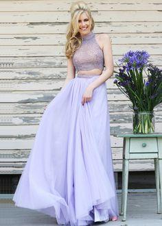 Two Piece High Halter Neck Beaded Flowing Lilac Prom Dress #2piecepromdresses #SherriHill #LongPromDresses