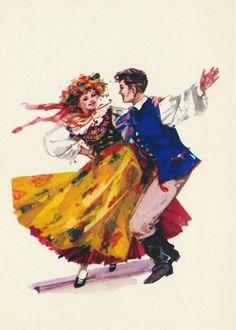 Folk costume from Bytom, Poland (strój rozbarski). Vintage postcard: drawing by… Art Costume, Folk Costume, Poland Costume, Dancing Drawings, Polish Folk Art, Costumes Around The World, Folk Clothing, Winter Scenery, Folk Dance