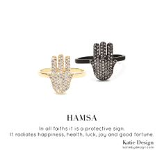 The Hamsa radiates happiness, health, luck, joy and good fortune. Shop the collection of rings, necklaces and cuffs on our website http://www.katiebydesign.com/ #hamsa #jewelry #diamonds