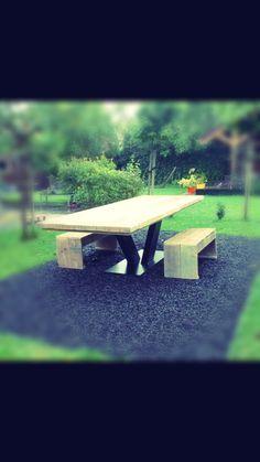 Steigerhouten balken tafel 3 meter met Vpoot www.ByKif.nl