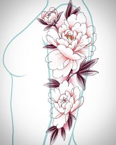 Japanese Flower Tattoo, Japanese Flowers, Body Art Tattoos, Sleeve Tattoos, Tattoo Sketches, Tattoo Drawings, Manga Floral, Black Girls With Tattoos, Henna Tattoo Hand