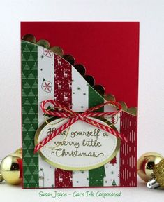 Pat Carr's Stamp Camp Toodyay October 2017 - Project # 3 - Be Merry (Cat's Ink. Cascading Card, Christmas Cards, Christmas Ornaments, Project 3, October, Merry, Gift Wrapping, Ink, Holiday Decor