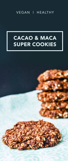 Need a breakfast you can grab & go? Or have a lonesome, overripe banana? These healthy cacao & maca oat cookies are the perfect quick solution, trust me! Cacao Recipes, Superfood Recipes, Vegan Recipes, Chocolate Recipes, Vegan Chocolate, Free Recipes, Vegan Baking, Healthy Baking, Healthy Treats