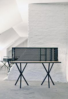 'Bureau' by Per Soderberg for his brand No Early BIrds. Perforated metal never looked so good. The same criss crossed base is used on virtually all the brands products - stools, wardrobes and side tables. All are extremely lovely. www.noearlybirds.se