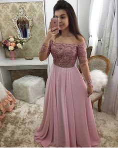 Off Shoulder Full Sleeves Long Prom Dress 2019 Custom Made Beaded Pink Evening Party Dress Fashion Appliques School Dance Dress Pageant Dress for Girls Fancy Prom Dresses, Girls Pageant Dresses, Prom Dresses Long With Sleeves, Party Wear Dresses, Formal Dresses, Split Prom Dresses, School Dance Dresses, Long Gown Dress, Indian Gowns Dresses