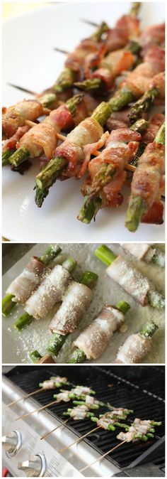 Bacon Wrapped Asparagus Skewers - Delicious, Easy and just like the ones from Disneyland - our favorite! { lilluna.com }