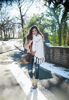 Chunky Knitted Scarf + Cream Snow Boots
