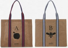 Apple & Bee Alphabet grocery bags (with biodegradable liners) in #natural, environmentally friendly (eco) summer jute.