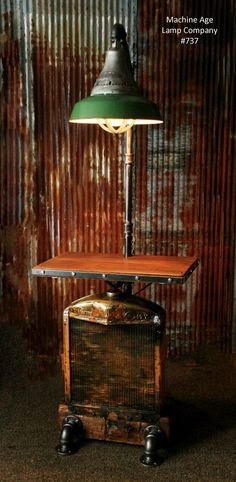 Steampunk Industrial Minneapolis Moline Farm Tractor Floor Table Stand Lamp - #737