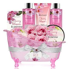 Bath Set for Women - Body&Earth 8 Pcs Gift Basket with Cherry Blossom & Jasmine Scent, Includes Bubble Bath,. Title: Bath Set for Women - Body&Earth 8 Pcs Gift Basket with Cherry Blossom & Jasmine Gift Baskets For Women, Wine Gift Baskets, Basket Gift, Hand Lotion, Body Lotion, Shower Gel, Bath Shower, Bath Tub, Jasmine Oil