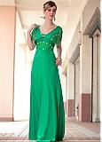 In Stock Alluring A-line V-neck Cap Sleeve Beaded Raised Waist Floor Length Formal Evening Dress