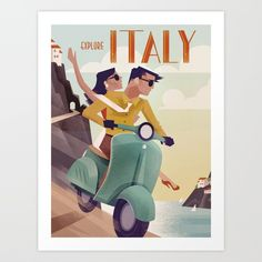 Vintage Travel Poster Italy Art Print ($24) ❤ liked on Polyvore featuring home, home decor and wall art