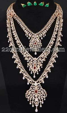 Jewellery Designs: Three Step Regal Diamond Long Set