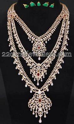 Jewellery Designs: Three Step Regal Diamond Long Set