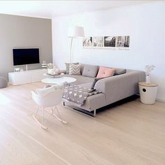Soft grey and pastels with oak flooring - amazing and simple lounge room design. Home Living Room, Interior Design Living Room, Living Room Designs, Living Room Decor, Bedroom Decor, Interior Livingroom, Living Room Inspiration, My New Room, Decoration