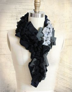 Black Grey Pleated Scarf with Ruffles in by RemixdClothing on Etsy