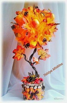 """Купить Топиарий """"Осенний вальс""""! - осень, осенний топиарий, топиарий, топиарий дерево счастья"""