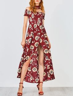 SHARE & Get it FREE | Floral Off Shoulder Shirred Asymmetric Maxi Dress - BurgundyFor Fashion Lovers only:80,000+ Items • New Arrivals Daily Join Zaful: Get YOUR $50 NOW!