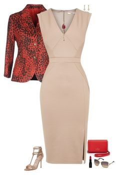 """Nude & red"" by julietajj on Polyvore featuring Tagliatore, Oasis, Manolo Blahnik, Peppercotton, Marc by Marc Jacobs, Kate Spade, Smashbox and Swarovski"