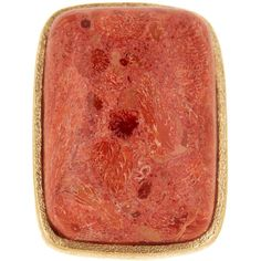 Rivka Friedman 18K Gold Clad Coral Cabochon Bold Rectangle Open Shank... ($54) ❤ liked on Polyvore featuring jewelry, rings, red, gold rings, red coral ring, yellow gold rings, red ring and cabochon ring