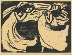 Emil Nolde 1867 - 1956 TÄNZERINNEN (S. W 132) Estimate: 20,000 - 30,000 USD Woodcut, 1917, signed in pencil, one of twelve proofs printed by hand, on handmade cream Japan paper.