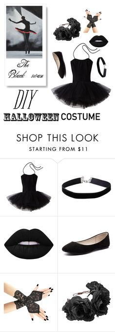 """DIY black swan Halloween costume"" by emilythejester ❤ liked on Polyvore featuring Sansha, Miss Selfridge, Lime Crime, Verali and Rock 'N Rose"