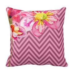 Chic Black and White Chevron with Pink Watercolor Floral Throw Pillows Chevron Throw Pillows, Pink Pillows, Floral Throw Pillows, Designer Throw Pillows, Decorative Throw Pillows, Couch Pillows, Black And White Pillows, White Throws, Black White